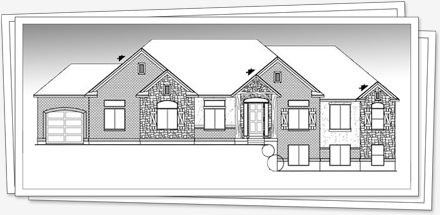 front elevation plan for the main floor - Step House Plans